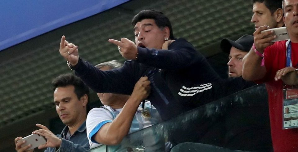Russia 2018 Diego Maradona Steals The Show As Argentina Slightly Beats Nigeria